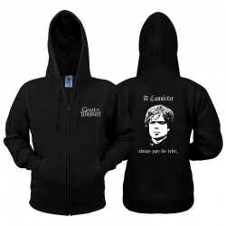 Game of Thrones Hoodie Tyrion Zip Sweatshirt