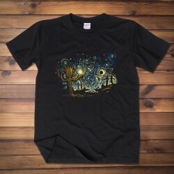 Groot under the night sky t-shirt Van Gogh Oil Painting Style Tee Shirt