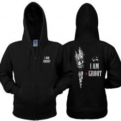 Guardians of the Galaxy 2 Hoodie i am groot Zip Up Black Sweatshirt