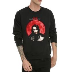 Heavy Rock Marilyn Manson Hoodie Black Crew Neck Sweater