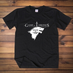 House Stark Direwolf T-shirt Red Wine Tee Shirt