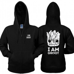 I Am Groot Zip Up Hoodie Guardians 2 Men Black Sweatshirt