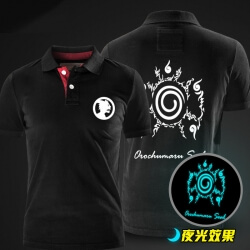 Luminous Naruto Black Polo Shirts for Men