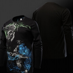 Luminous Overwatch Genji VS Hanzo Tshirt Black Long Sleeve T-shirt for Men
