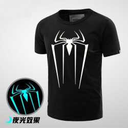 Luminous Spider T Shirt Boys Black Tee Cool