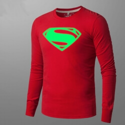 Luminous Superman Mens Long Sleeve T Shirt