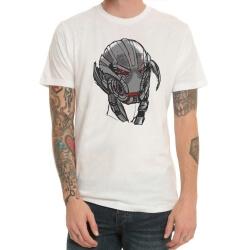 Marvel Avengers 2 Ultron Head Tshirt White Mens Tee