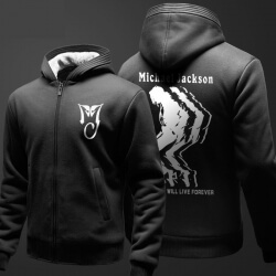 Michael Jackson MJ Hoodie Winter Zip Up Black Thick Sweater For Men