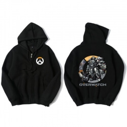 Over Watch Reinhardt Hoodie Men Black Hooded Sweatshirts