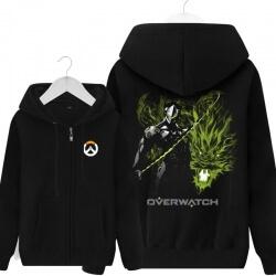 Overwatch Gengi Hero Sweatshirt OW Game Black Zip Up Hoodie