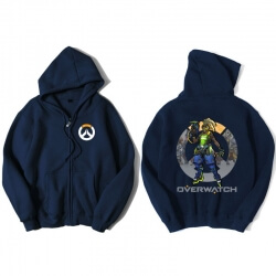 Overwatch Hero Soldier 76 Sweatshirt Men Blue Hoodies
