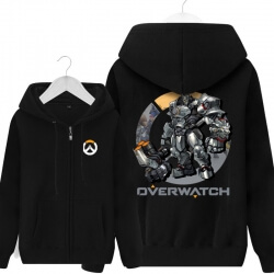 Overwatch Reinhardt Hooded Sweatshirts Men Black Hoodie