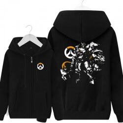 Overwatch Reinhardt Sweat Shirts Mens Black Hoodie