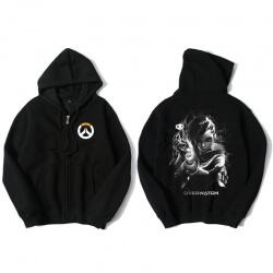 Overwatch Sombra Sweatshirt Men Black Zipper Sweater