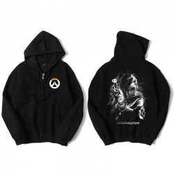 Overwatch Sombra Sweatshirt Men Black Zipper Sweater