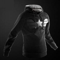 Quality Black Marvel Captain American Hoodie for Men Boys