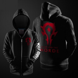 Quality Blizzard WOW Horde Logo Sweatshirt World of Warcraft Zipper Hoodie