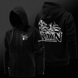 Quality League of Legends LOL Kayn Hoodie Zip Up Black Sweatshirt