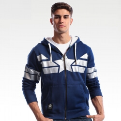 Quality Marvel Captain America Zip Up Hoodie Blue Superhero Cosplay Sweatshirt