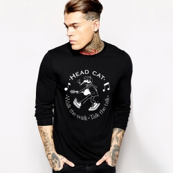 Rock Music Team Head Cat Long Sleeve T-Shirt