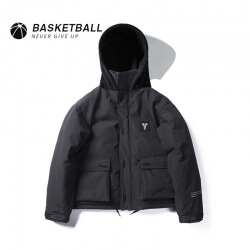 Winter Black Kobe Bryant Zip Coat NBA Mamba Thick Hooded Tops