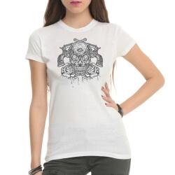 Tattoo Skull Rock White Tee Shirts for Women