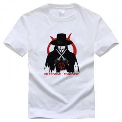V for Vendetta Freedom Forever Tshirt White Cotton tee