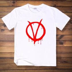 V for Vendetta V Logo Tshirt White Men Tee