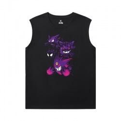 Pokemon T-Shirts Cotton Gengar Black Sleeveless Tshirt
