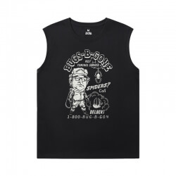 Spiderman T-Shirts Marvel The Avengers Black Sleeveless Shirt Men