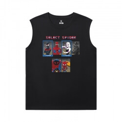 Spiderman T-Shirts Marvel The Avengers Men'S Sleeveless T Shirts Cotton