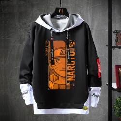 Vintage Anime Naruto Hoodie Fake Two-Piece Sweatshirts