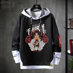 Vintage Anime One Piece Tops Fake Two-Piece Sweatshirts