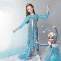 Frozen Princess Dress Girls Elsa Frozen Cosplay Costume for Kids
