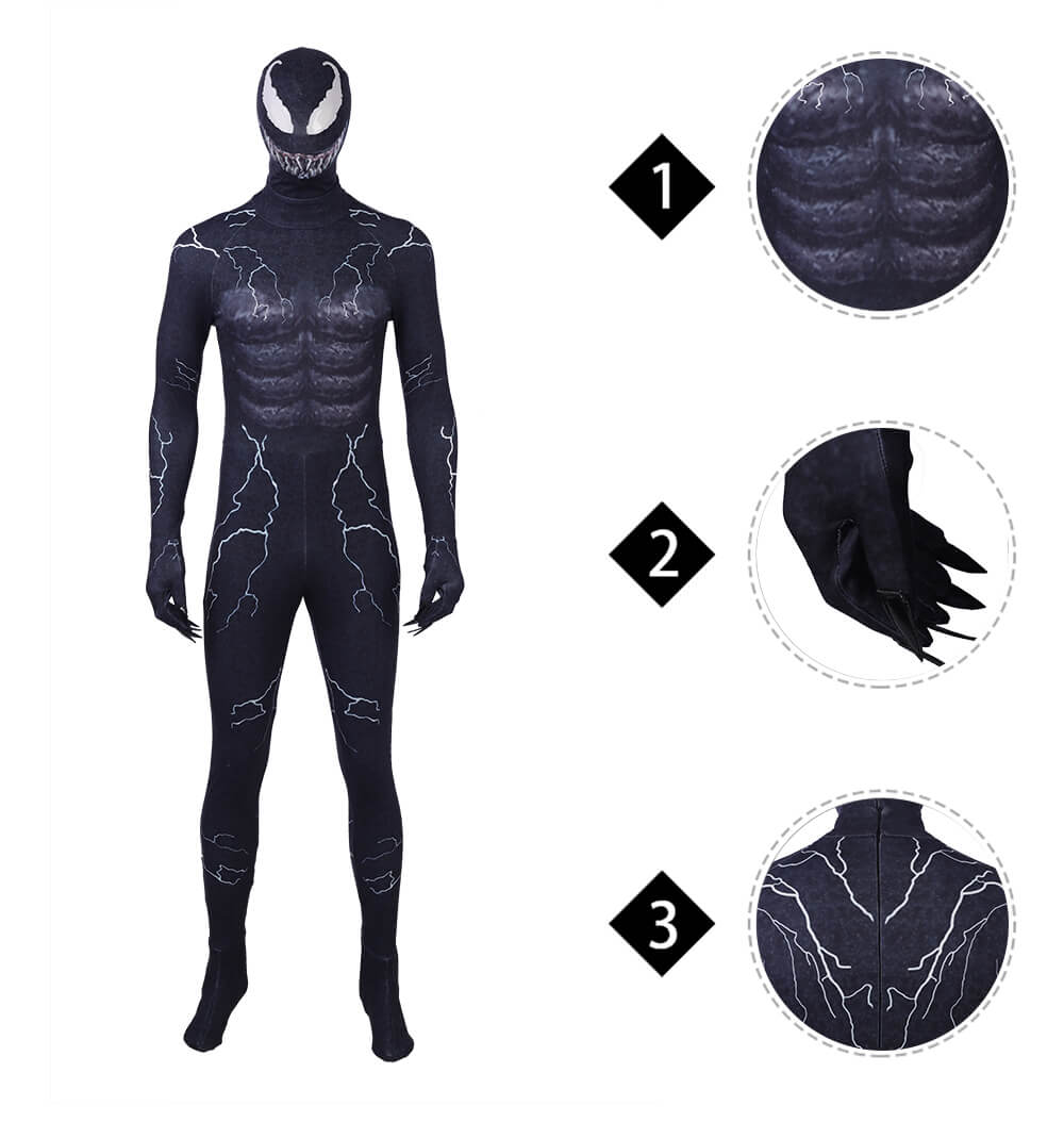 Venom Edward Brock Jumpsuits Spiderman Venom Cosplay Costume