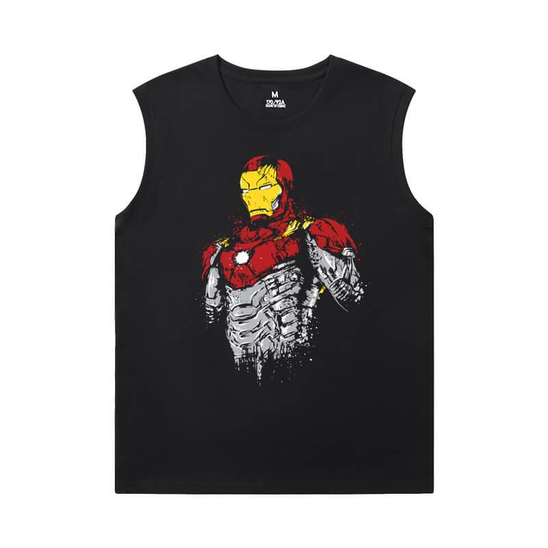 Iron Man Tees Marvel The Avengers Sleeveless Printed T Shirts Mens