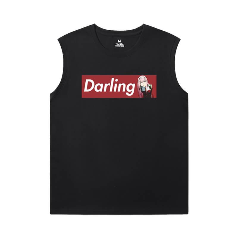 Darling In The Franxx Black Sleeveless T Shirt Mens Anime T-Shirts