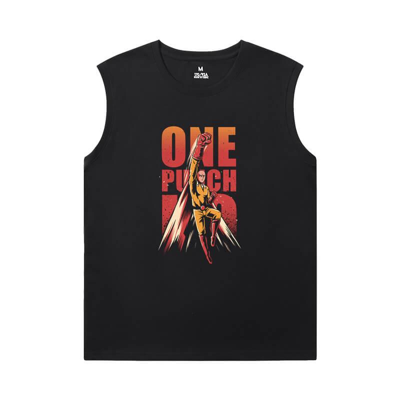 One Punch Man T-Shirt Vintage Anime Sleeveless Crew Neck T Shirt