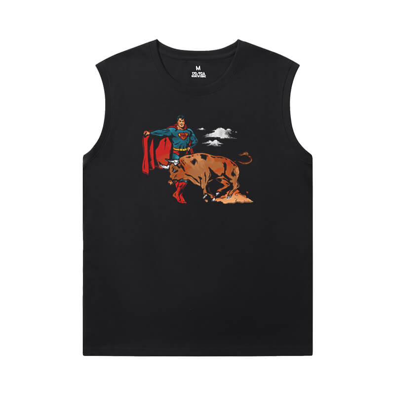 Superman Sleeveless T Shirt Black Justice League Superhero Shirt