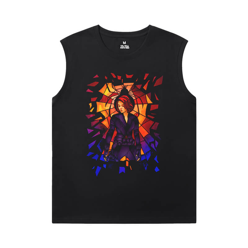 The Avengers Tshirt Marvel Black Widow Men'S Sleeveless T Shirts Cotton