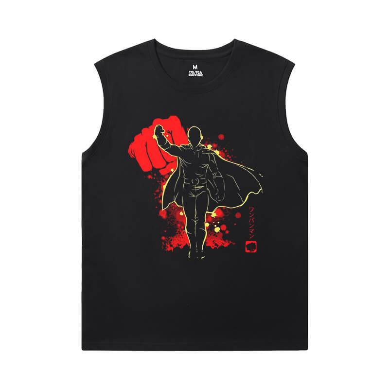 One Punch Man Sleeveless Printed T Shirts Mens Vintage Anime Shirt