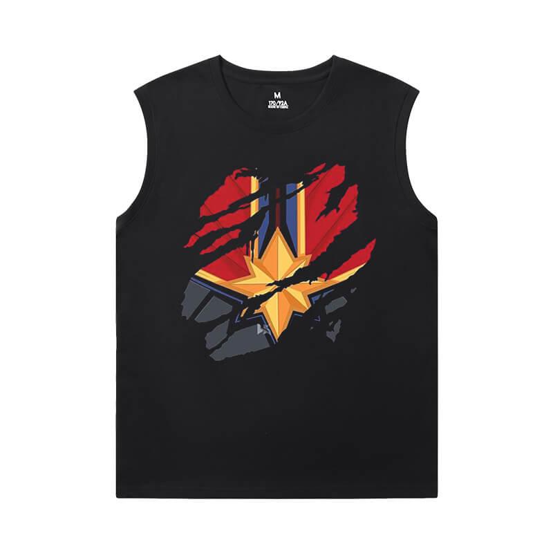 Captain Marvel Tees Marvel The Avengers Sleeveless Shirts Mens