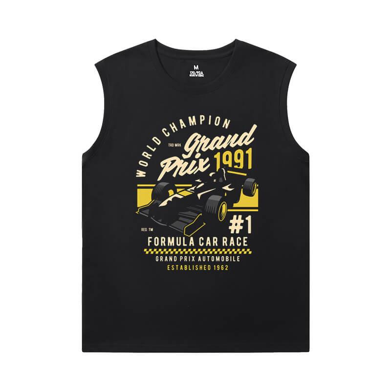 Racing Car Tee Shirt Cotton F1 Mens Sleeveless T Shirts