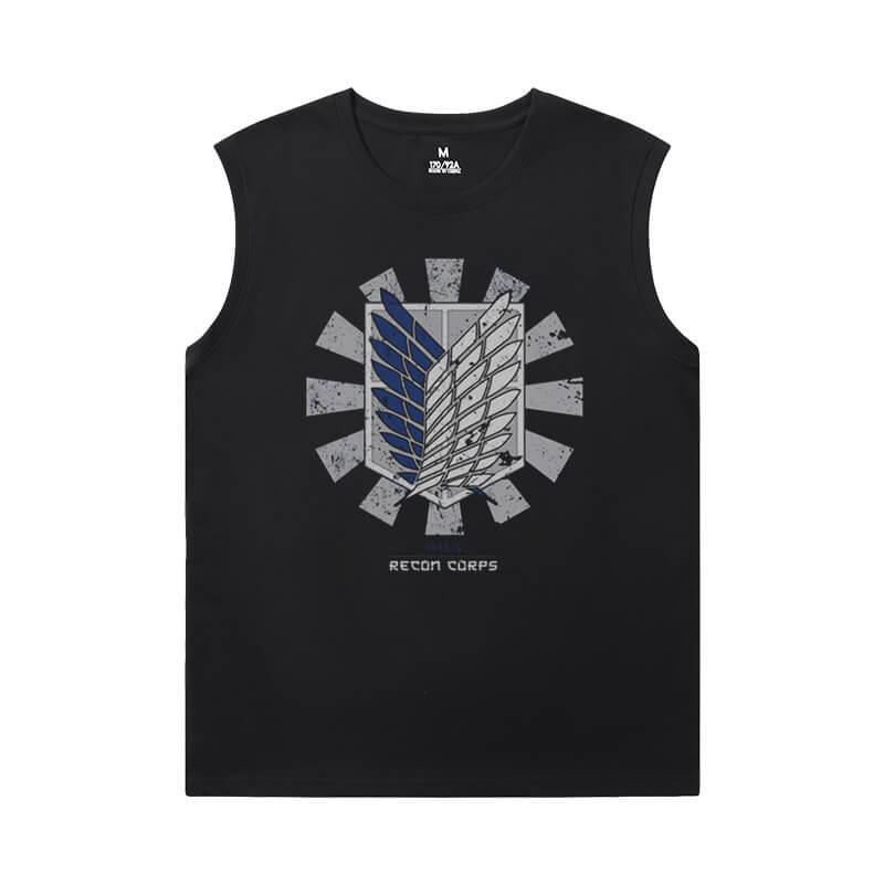 Attack on Titan T-Shirt Vintage Anime Mens Sleeveless T Shirts