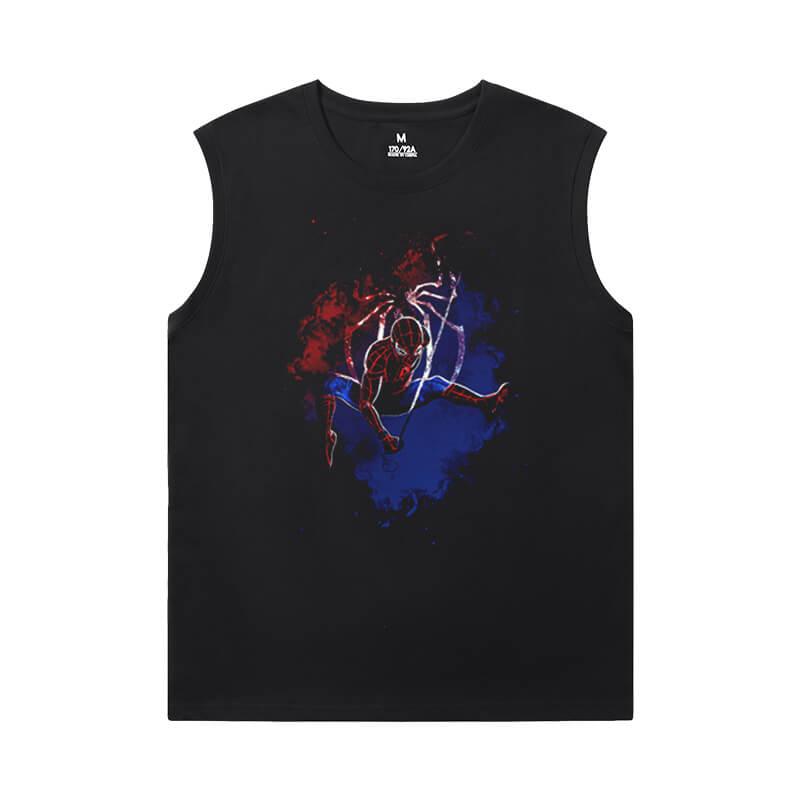 The Avengers Tshirts Marvel Spiderman Sleeveless Round Neck T Shirt