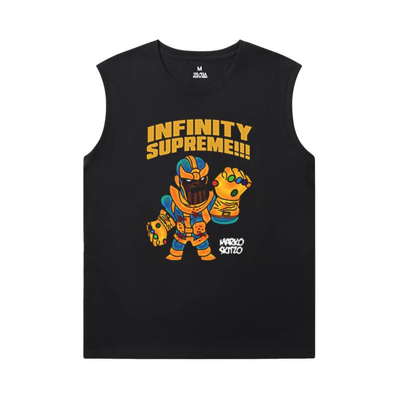 Thanos Tees Marvel The Avengers Black Sleeveless T Shirt Mens