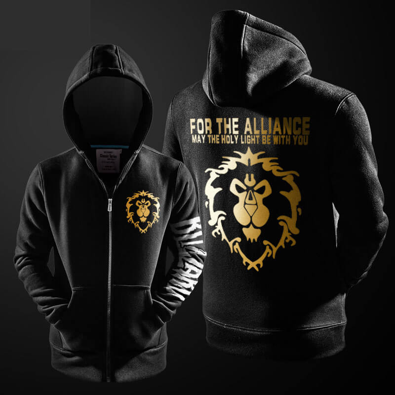 World of Warcraft Alliance Hoodie Blizzard WOW ZIpper Sweatshirt