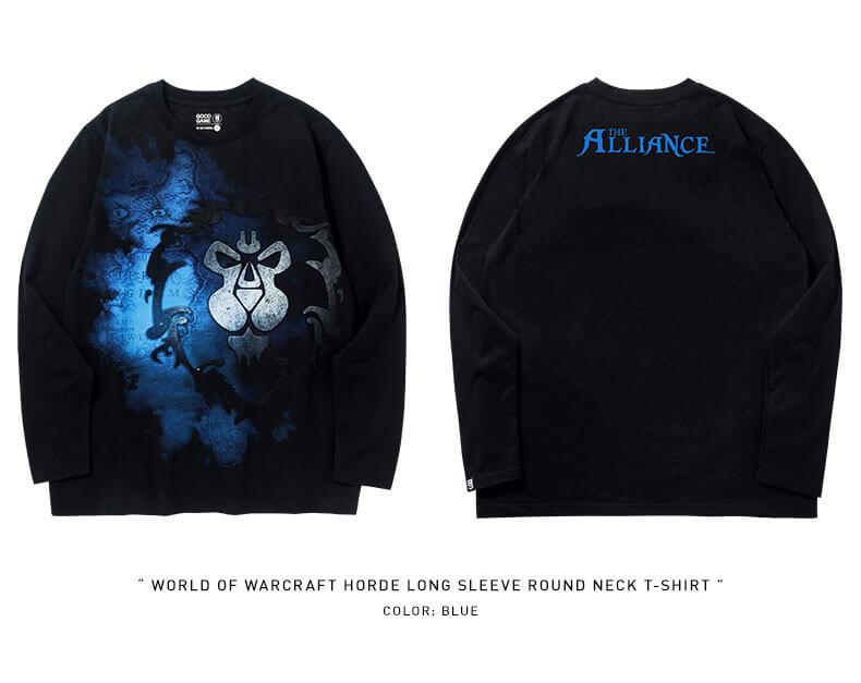 World of warcraft Alliance Logo T-shirt Long Sleeve WOW Tee